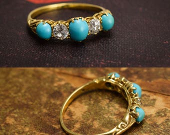 Antique Victorian Turquoise & Diamond 5-Stone Ring in 18k Yellow Gold, c1880
