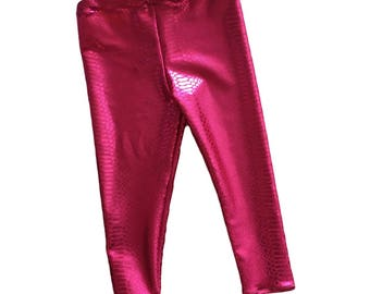 Dragon Leggings- hot pink leggings- baby  toddler kids leggings- dragon costume- pink metallic legging- scorched dragoness- scales- pants