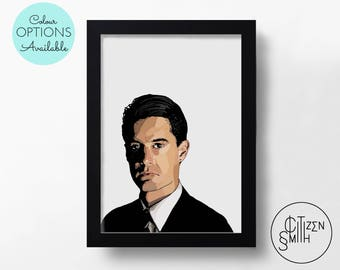 TWIN PEAKS - Special Agent Dale Cooper - David Lynch - Black & White/ Colour - Hand-Drawn Film Art Print/ TV Movie Poster