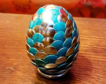 Handmade Dragon Egg -Blue Green Glitter Silver -Game of Thrones -Harry Potter -Lord of the Rings -Geek Gift Christmas Birthday Easter