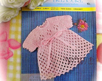 "Vintage 70's Crochet Pattern Copy For A Baby Girls ""Lattice"" Look Dress. 2 sizes."