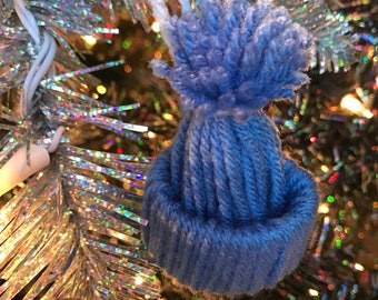 Christmas tree ornament, blue hat ornament, blue ornament, blue christmas