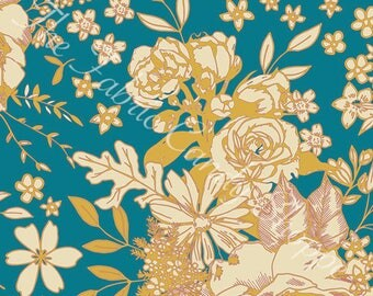 Soulful by Art Gallery Fabrics - Floral Universe Turquoise - Rayon Fabric