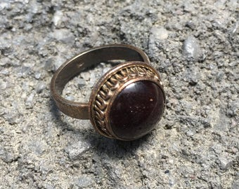 Vintage Garnet Ring-Sterling Silver Ring-Handmade Vintage Ethnic-Hippy-Gypsy