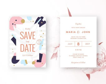 WATERCOLOR SAVE The DATE Invitation, Save The Date Invitation Watercolor, Abstract Save The Date Card, Save The Date Watercolor