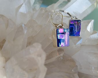 Pink Purple Dichroic Glass Earrings Sterling Silver
