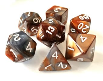 Copper/Steel Polyhedral Dice Set, D&D, Dungeons and Dragons, RPG, Roleplaying, Dual Colour, Pathfinder, Orange, Grey