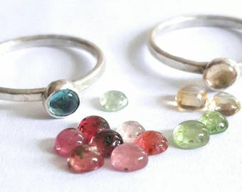 Delicate Tourmaline Stacking Ring - Sterling Silver Ring - Delicate Ring - Simple Gemstone Ring - Minimalist Ring - Stackable Rings