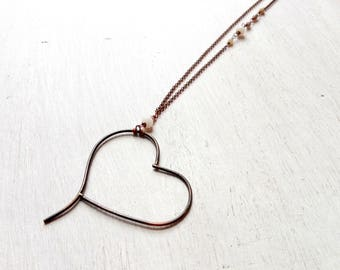 Necklace with heart pendant, anniversary gift, copper jewelry, heart necklace, boho necklace, gift for her, girlfriend gift, hard stones