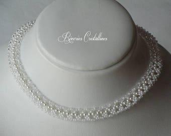 Wedding necklace pearls and Swarovski crystals - wedding, bridal white necklace, wedding jewelry, crystal necklace jewelry
