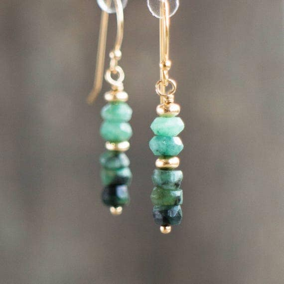 Raw Emerald Earrings - May Birthstone