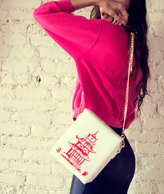 Chinese Food To-Go Box, Cross Body, Faux Leather, Vegan Leather