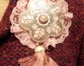 Metal, Lace, and Fringe Tassel Brooch, One-of-a-Kind