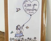 On sale! Handmade Grandma blank greetings card. Original drawing print of a girl holding a balloon- get well soon- thinking of you- birthday