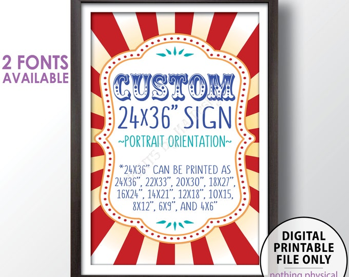 """Custom Carnival Sign, Choose Your Text Carnival Theme Party Sign, Carnival Birthday, Circus Theme Party, PRINTABLE 24x36"""" Carnival Sign"""