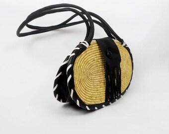 vintage Leather and Rattan Bag, handmade bag,Basket Handbag, Rattan Shoulrer Bag, Boho Bag, Leather and Rattan Bag, Raffia Straw and Leather