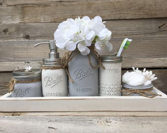 Gray Bathroom Decor, Gray Bathroom Set, Gray Mason Jar Bathroom Set,  Bathroom Set