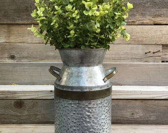 Single Milk Can With Greenery or Fall Leaves, Farmhouse Floral Arrangement, Rusitc Milk Can with Greenery, Metal Farmhouse Decor, Home Decor