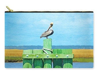 Brown Pelican on Ocean Dock, Cosmetic Bag, Make Up Bag, Carry All Pouch, Toiletry Bag, Zippered Clutch, Travel Purse, Gift for Her