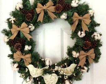 Rustic Christmas Wreath, Front Door Wreath, Cotton Wreath, Winter Wreath, Farmhouse Christmas Decor, Rustic Decor, Evergreen Wreath