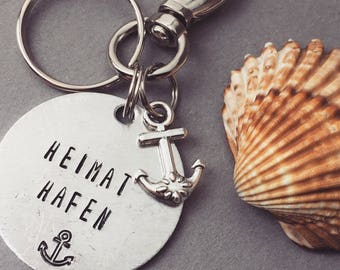 Home port Keyring / / maritime / / Handgestempelt / / gift for him and her / / aluminium