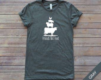 Friends Not Food, Vegan Shirt, Vegan Tshirt T-shirt, Vegetarian Vegan Tee, Herbivore Shirt, Save Animals, Veganism Shirt, Gift for Vegan,