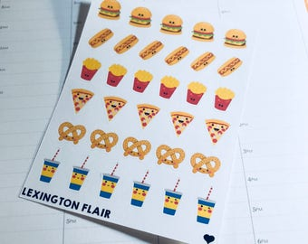 Fast Food - Junk Food Kawaii Planner Stickers For Your Planner or Calendar. Works Great for ECLP and happy planner