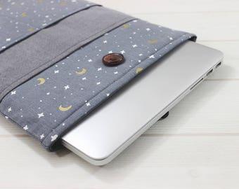 Moon and stars case, Gray linen sleeve, 15inch Macbook Pro Sleeve, Pro Retina sleeve, laptop sleeve, Dainty laptop case, Gold laptop sleeve