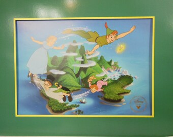 Vintage Walt Disney Peter Pan Commemorative Lithograph Gold Seal Matted with Envelope