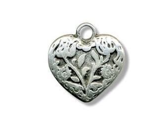 Metal 18mm antique silver heart pendant