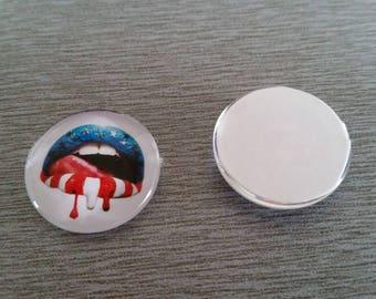1 lipstick red white blue glass 20mm cabochon
