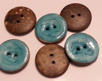 Gorgeous turquoise blue enameled coconut button