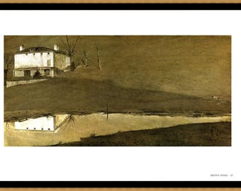 """Brown Swiss and Karl's Room painted by Andrew Wyeth. The page is approx. 16 1/2"""" wide and 13"""" tall. Image Brown is 15 1/2"""" by 7 1/2""""."""