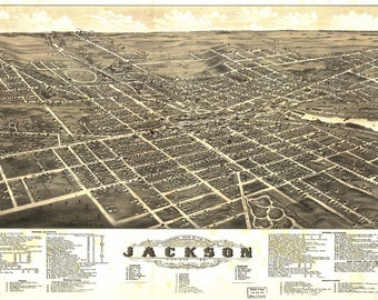 Jackson MI Panoramic Map dated 1881. This print is a wonderful wall decoration for Den, Office, Man Cave or any wall.