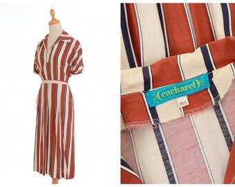 CACHAREL vintage 1970s 1980s does 1940s style striped print rayon dress - size S