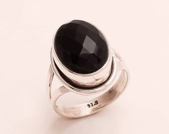 925 Solid Sterling Silver BLACK ONYX Ring