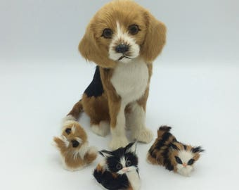 Vintage Toy Animals/Goat Fur Toy Animals/Fur Toys/Fur Animal Collectibles/Genuine Goat Fur Toys/Collectible Toy Animals/Toy Dog And Kittens