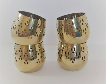 vintage brass tealights solid brass tea light candle holders set of four brass home decor brass votive candle holders punched brass