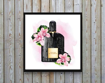 Square print blush pink Watercolor orchids pink and black watercolour Fashion bathroom bedroom decor fashion illustration gift for ombre