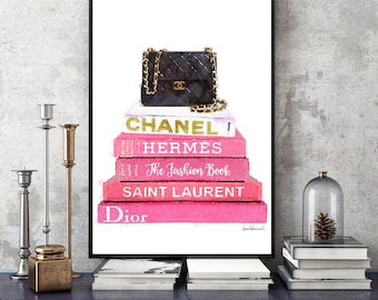 24x36 Fashion book stack Watercolor, bag, quilted, art print, pink, style, watercolour Fashion books bathroom fashion illustration gift for