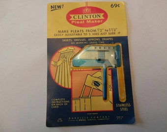 Pleat Maker; Vintage Clinton Pleat Maker; 60s Fashion; Easy Pleats; No Marking Pleats; Vintage Sewing Supplies; Ready to Ship