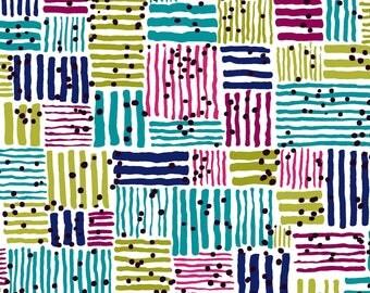 Windham Fabrics - Makers Home Turquoise Tatami by Natalie Barnes / Navy, Aqua, Pink, Green, Black Geometric Pattern