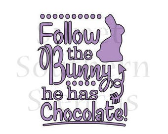 Follow the Bunny he has Chocolate Easter Cookie Stencil
