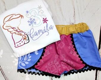Girls Anna Birthday Shirt- Frozen Shirt- Anna Outfit- Toddler Girls- Anna Inspired Shorts- Baby Girl- 6m, 12m, 18m, 2t, 3t, 4, 5, 6 8