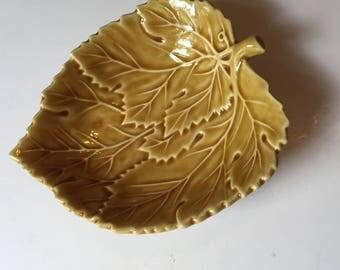 Yellow Ceramic Leaf Dish Made in Portugal Fall Decor