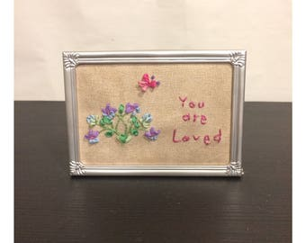Small Framed Needlepoint You Are Loved