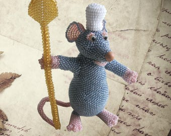 """Pattern / Tutorial Beaded Ornament - Master class for creating""""Remy the rat"""""""