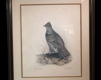 "Robert White ""Ruffed Grouse"" 1977 lithograph 431/1500 w/ COA (ART10046)"