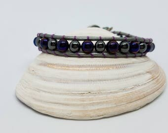 Silver leather single wrap bracelet 6mm purple glass beads hematite cotton stitching button closure
