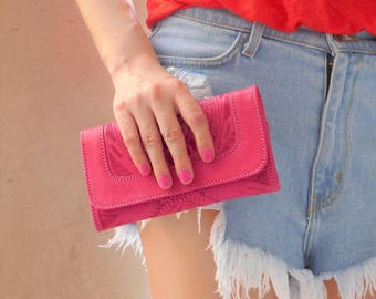 Women Handmade Tooled Cowhide Leather wallet.Trifold-Women's PINK Leather Wallet-Leather Wallet, Leather Purse-  PINK wallet-